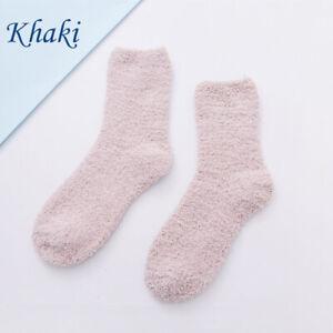 1Pair Women Girls Coral Fleece Bed Fluffy Long Socks Floor Socks Sleep Socks ca