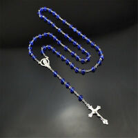 Royal Blue Catholic Virgin Mary Crystal Beads 6mm Men Silver Rosary Necklace