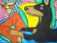 Doberman Pinscher Martini R 'n R Dog Pop Art 8 x 10 Signed Print by Ksams Dobie