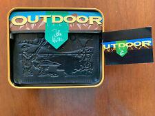 Men's John Weitz Black Leather Wallet Fishing Graphic New