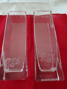 "Pair of Clear Glass Vases-2 3/8"" Square-Etched Design-Contemporary Design-"