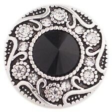 (%Snap.Chunk Button 20mm Black And Clear Set Charm For Ginger Snap Style Jewelry