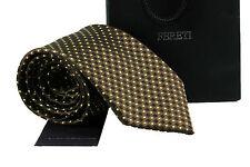 Corbata Diseñador Cuadros Marrón Con Amarillo Lunares Topos Boda Fina Italiana