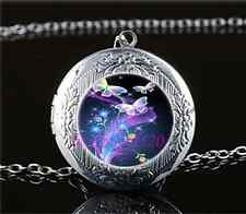Fluorescent Butterfly Cabochon Glass Tibet Silver Locket Pendant Necklace