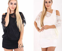 New Womens Ladies Lace Fishnet Vest Insert Oversized Batwing Shirt Top Plus Size