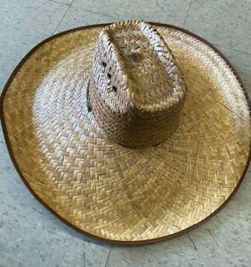 XL BRIM NATURAL Straw Summer HAT SOMBRERO BEACH GARDENING LIFEGUARD 81 MEXICO