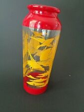 Vintage Retro Glass Painted Vase Red Yellow Ducks on Lake Scene