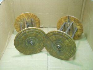 Antique burl wood bobbins spools 18/19th century