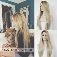 Best Light Blonde Long Straight Lace Front Wigs Brown Roots Ombre Synthetic Wigs