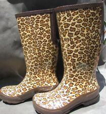 Crocs Rain Boots size 7.5, 8 black brown animal print muddy puddle tall water NW
