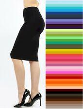 Zenana Pencil Knee Skirt Bodycon High Waist Premium Stretch Cotton S M L XL USA