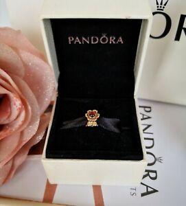 AUTHENTIC VINTAGE PANDORA 14ct 14k GOLD GARNET FLOWER CHARM 750343GR 585