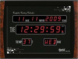 Ajanta Quartz Digital Red LED Rectangle Wall Clock OLC - 105 (39.6 cm x 29.6 cm