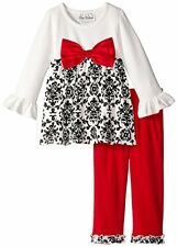 Rare Editions Little Girls Red Black Classic Printed Holiday Dress & Leggings 6X