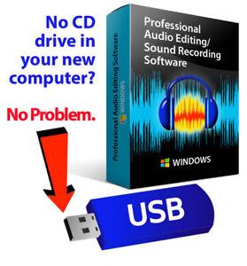 Audacity 2020 (Professional Audio Music Editing-Recording Software)-Windows-USB