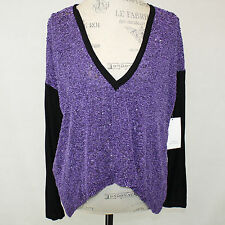 NEW NWT Robert Rodriguez Beaded Lavender Deep V-Neck 100% Silk Dress Blouse 6