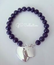 Black Akoya Pearl bracelet  7-8 MM  w/ 925 silver 2 heart Charms.  Elegant.