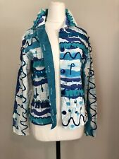 Silk Turquoise Blazer Beaded Jacket Size S/M