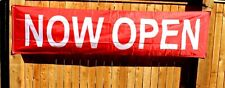Now Open Banner Sign Huge 2 feet x 8 Big Grand Opening Store Restaurant Red Flag