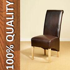 Sedie da pranzo marrone in pelle