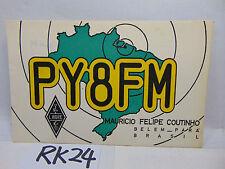 VINTAGE QSL CARD AMATEUR RADIO HISTORY 1969 BELEM-PARA BRASIL-BRAZIL MAP RARE