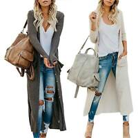 Women's Knitted Maxi Cardigan Duster Open Front Sweater Long Sleeve Jumper Coats