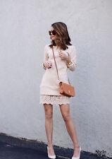 US SELLER Shein Sheinside Cupshe Long Sleeve Lace Dress Cream Tan - Size M