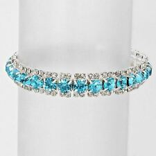 Aquamarine Crystal Rhinestone Stretch Line Bracelet (Sparkle-2458-U)