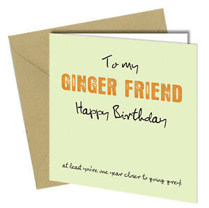 #762 Ginger Friend One Year Closer To Being Grey Birthday Greetings Card
