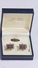 Stratton of London Cufflinks Boxed Enamelled Design Light & Dark Blue +Gold No21