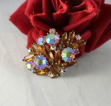 Vintage Amber Navettes AB Rhinestone Gold tone  Pin Brooch CAT RESCUE