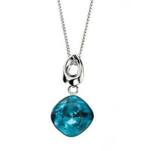 "Elements Silver Blue Indicolite Drop Cushion Swarovski Pendant,18"",P3216T"