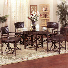 Sanford Rattan & Leather 5 Piece Dining Set (4-Arm Chairs and Table W/Glass Top)