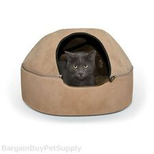KH Mfg Cat Kitten Hooded Kitty Dome Cave Bed Microsuede Tan Large 20""