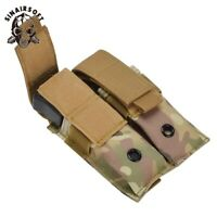 Tactical Molle Double Magazine Pouch Pistol Mag Holder Baton Flashlight Holder