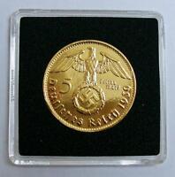 5 Reichsmark 1938 mit HK - 24 Karat vergoldet - Kapsel