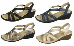 LADIES EAZE OPEN TOE ANKLE STRAP UP SUMMER WEDGE SANDALS 4 COLOURS UK 3-8 F3111
