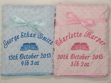 Personalised Baby Blanket Luxury Embroidered Dimpled Booties Satin Edged Fleece