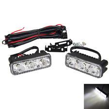 2x 3LED Super Bright White 12V Car Motorcycle Daytime Running Light DRL Fog Lamp