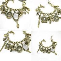 Wholesale Mirror Teapot Frog Clock Heart Bangle Charms Multielement Bracelet