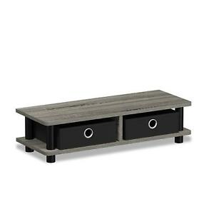 NEW Low Standing Modern Grey / Black Home Computer Monitor Stand w 2 Fabric Bins