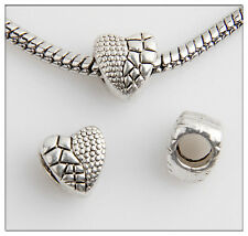 30pcs Heart Tibetan Silver Bead Fit European Charm Bracelet Findings