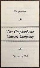 Season of 1898 Program The Graphophone Concert Company~113167