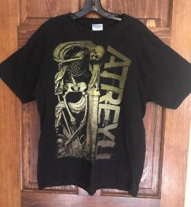 Atreyu T-shirt Vintage SZ L big print skeleton skull music Hanes Black