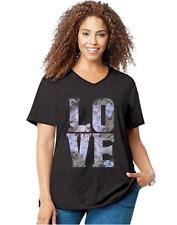 349f8eb07c7 New Women s JMS Just My Size Big Love Short Sleeve Black Graphic T-Shirt 3X