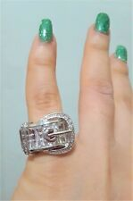 Silver Clear Fashion Cocktail Statement Ring Crystal Cubic Zircon Belt Buckle