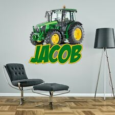 TRACTOR FARM PERSONALISED WALL STICKER children's boy's bedroom decal art 2 size