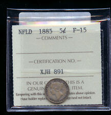 1885 Newfoundland 5 Cents ICCS Certified F15  IC11