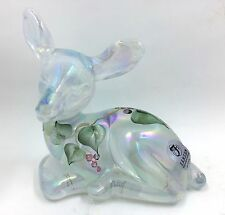 Fenton Opalescent Deer Fawn Hand painted Leaf and Berry Christmas Design