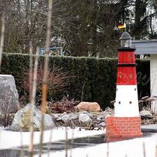 GARTEN LEUCHTTURM BÜSUM SYLT 120 cm rot weiß DOPPELLICHT Deko Figur maritim MEER